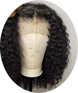 Curly Bob Lace Front Human Hair Wigs For Women Natural Color Remy Brazilian 13x4 Black Lace Wig Middle Part Full End 130-150% JK,10inches,130%