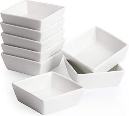 Porcelain Ramekins Set For Creme Brulee Oven Safe Dipping Sauce Bowls 3 x 1.6 Inches 6-Piece 4oz Square Ramekins for Baking Souffle Dishes Plain White Fruit Serving Dessert Custard Cups