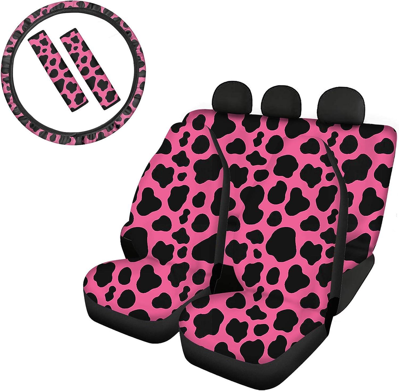 Goyentu Boston Mall Black Popular and Pink Cow Accessories Seat Print Car Cute