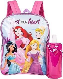 Princess Backpack Combo Set - Girls' 3 Piece Backpack Set - Cinderella, Bella, Elsa & Jasmine Backpack, Waterbottle and Carabina (Pink/Purple)