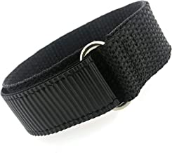Watch Band Nylon One Piece Wrap Sport Strap Black AdjustableHook and Loop 16mm