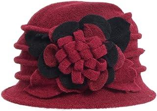 Lady 100% Wool Floral Bucket Cloche Bowler Hat Felt Dress Hat XC020