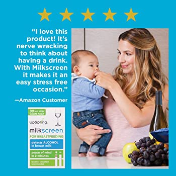 UpSpring Baby Milkscreen Breastmilk Alcohol Test Strips, 30 Count Value Pack, at Home Test Detector for Alcohol in Br...