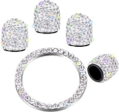 Valve Stem Caps 4 Pack Handmade Crystal Rhinestone Universal Tire Valve Dust Caps Bling Car Accessories with 1 Piece Ring Emblem Sticker for Auto Start Engine Ignition Button Key and Knobs (White)