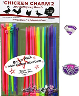 20 Chicken Charm 2 Poultry Leg Bands - Fit Sizes 6 to 14