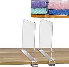 "SWAWIS 2Pcs Acrylic Shelf Divider Separators 0.75"" Clear Shelf Divider Closets Shelf Separator to Organize Clothes, Books,..."