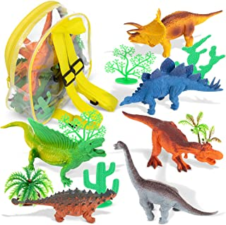Leio Dinosaurs Toys - 13 Pcs - 6 Realistic Dinosaurs Figures and 6 Tropical Trees Non-Toxic Plastic in a Convenient PVC Backpack for Easy Toy Storage. Excellent Gift for Boys and Girls