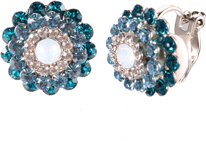 Almilyn 18K Gold Plated Triple Crystal Layer Flower Clip On Earrings