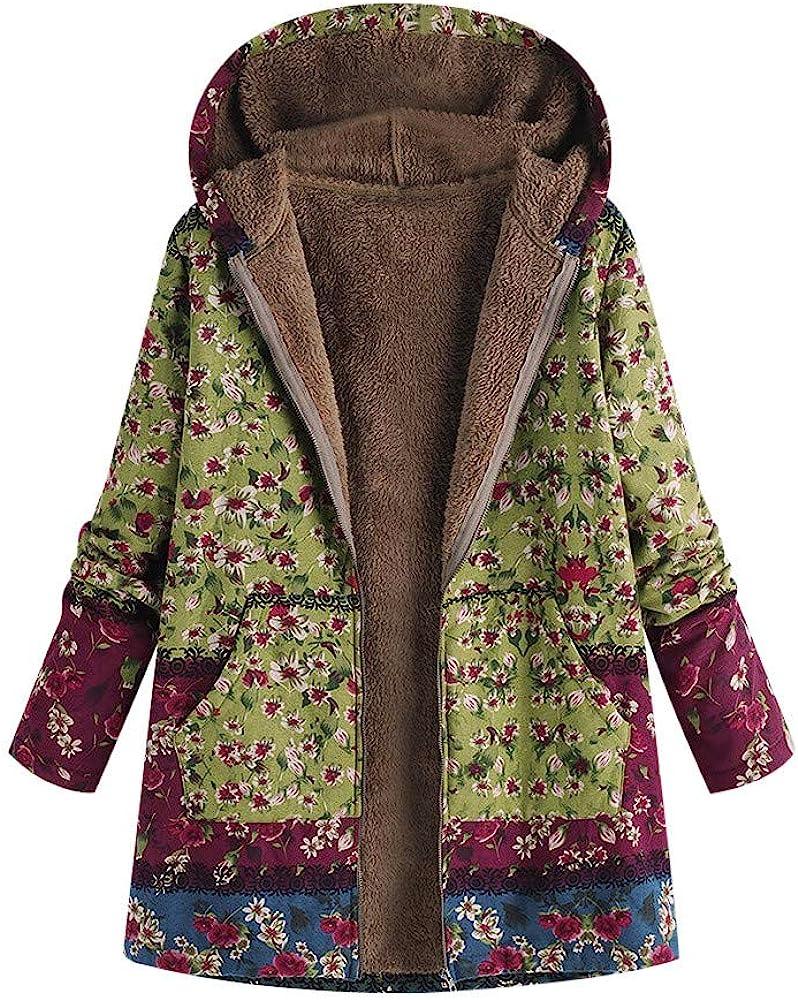 F_Gotal Women Plus Size Vintage Coat Parka Floral Hooded Warm Outwear Flannel Lining Zipper Loose Jacket Hoodie Overcoat