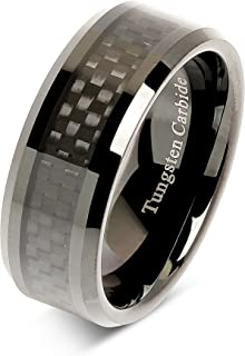 8mm Tungsten Carbide Ring Carbon Fiber Inlay Black Plated Wedding Band Size 6-16