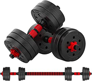 Weights Dumbbells Set for Men, Women - Hand Weight Sets Adjustable to 44lbs - Rubber Covered Weight Plates, Connecting Rod for Use as Barbell - Versatile Dumbbell Set for Gym, Home Workout