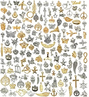 JIALEEY 150 PCS Wholesale Bulk Lots Jewelry Making Charms Mixed Antique Silver & KC Gold Alloy Charms Pendants DIY for Nec...