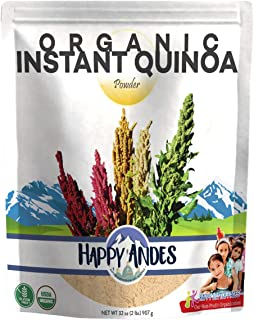 Happy Andes Organic Instant Quinoa Powder 2lb - All-Natural, Plant-Based Protein Source Cereal - Healthy Rice Replacement for Baking and Smoothies - Non-GMO, Gluten-Free, Kosher and Vegan-Friendly