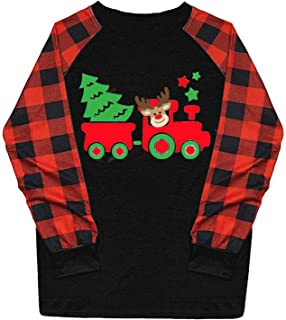 Fudule Women's Christmas Plaid T Shirts Casual Crewneck...