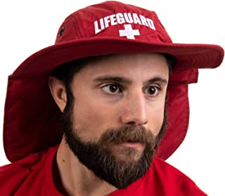 Lifeguard Hat w/Neck Cape | UV Sun Protection 45+ Bucket Hat Uniform Men Women