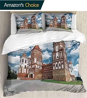 PRUNUSHOME Bedding 3 Piece Bed Sheet Set View on Castle mir in republi Belarus at Daytime Crisp Bed Linen California King