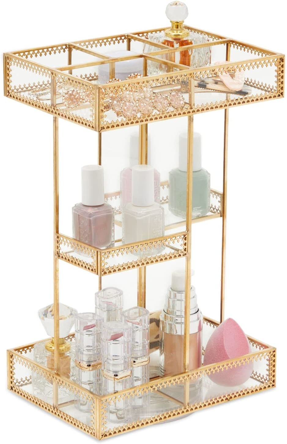 Free Shipping New Rotating Glass Makeup Organizer for Cosmetic St Vanity Dresser Cheap sale