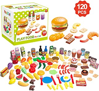 Lantch Play Food Toy Kitchen Set for Kids- 120 Piece Educational Pretend Play, Food Playset, Toddlers Toys, Kitchen Accessories Fake Food