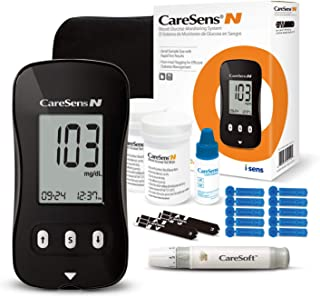 CareSens N Diabetes Monitoring Kit (Auto Coding) - 1 Blood Glucose Meter with 100 Glucose Test Strips, 1 Control Solution, 1 Lancing Device, 100 Lancets (30G), 1 Carrying Case & 2 Batteries