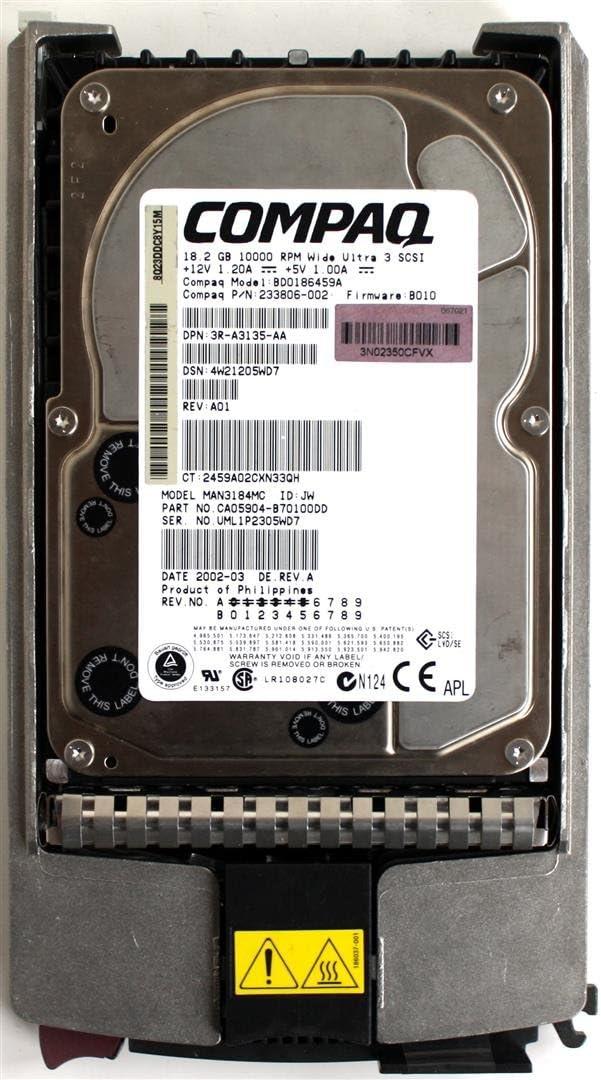 Compaq 18.2GB 10K U3 SCSI Choice FW: BD0186459A HDD Indianapolis Mall B010 233806-002
