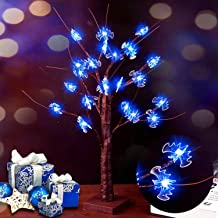 GoOutdoor Lab LED Light Tree 2FT 24LT Bat Brown Tree Branch Blue Light Spooky Tabletop Tree Battery Operated Gift Cards Tree Lamp Decoration Home Easter Festival Party