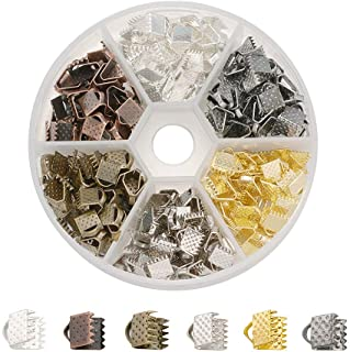 Beadthoven 1Box Ribbon Ends 240pcs 6 Colors 6x7mm Iron Clamps Crimp Ends Leather End Suede End for Choker Making Jewelry Accessories Supplies Handmade Crafts