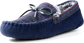 ZIZOR Mens Moccasin Tartan Slippers with Memory Foam, Felt Faux Fur Lined House Shoes with Indoor & Outdoor Rubber Sole
