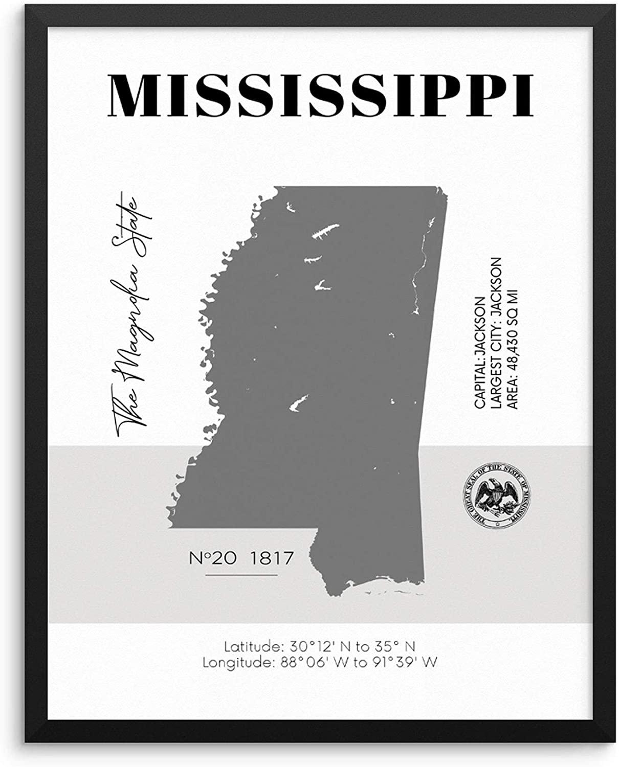 Mississippi State Map Poster With Demographics Minimalist Home Decor Travel  Art Print 20x20 UNFRAMED Trendy Artwork for Bedroom Living Room Entryway ...