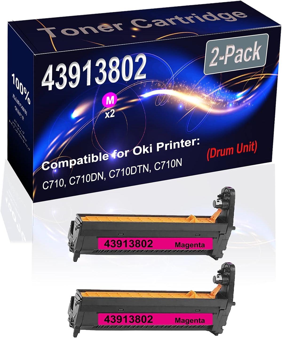 2-Pack (Magenta) Compatible High Capacity 43913802 Printer Drum Unit Used for Oki C710, C710DN, C710DTN, C710N Printer