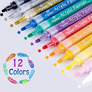 Set of 12 Acrylic Paint Pens 3mm for Rock Painting, Ceramic, Porcelain, Glass, Stones,..