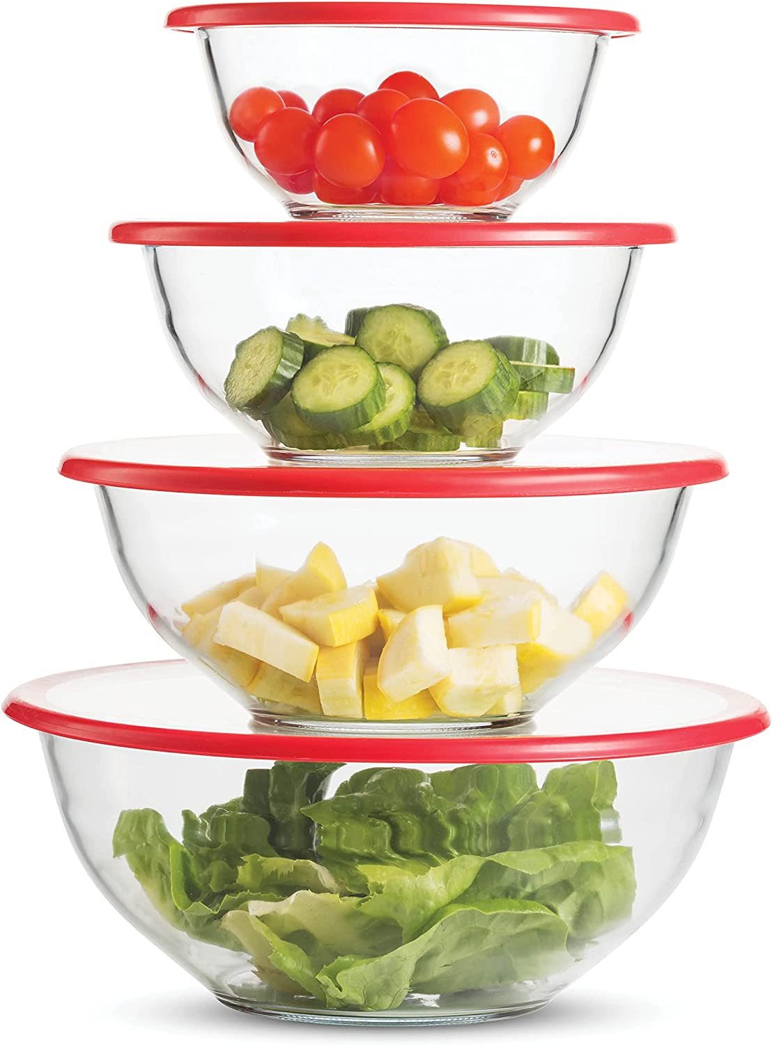 Superior Glass Financial sales sale Mixing Bowls with Bowl - Selling 8-Piece Lids Set