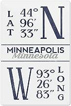 Lantern Press Minneapolis, Minnesota - Latitude and Longitude (Blue) 67336 (6x9 Aluminum Wall Sign, Wall Decor Ready to Hang)