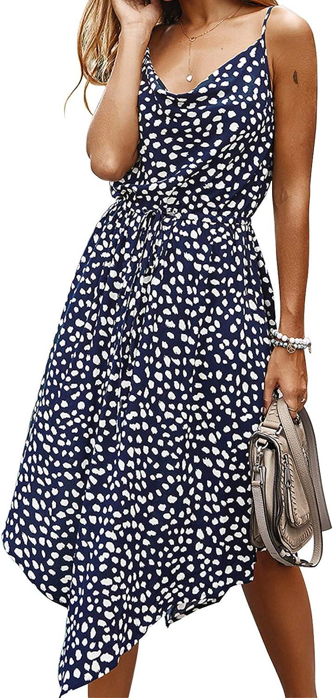 EXLURA Women's Leopard Printed Adjustable Strappy Tie Waist Dress Irregular Hem Maxi Dress