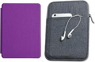 Capa Kindle Paperwhite 10ª geração à prova d'água Roxa - Função Liga/Desliga - Fechamento magnético + Bolsa Sleeve Cinza E...