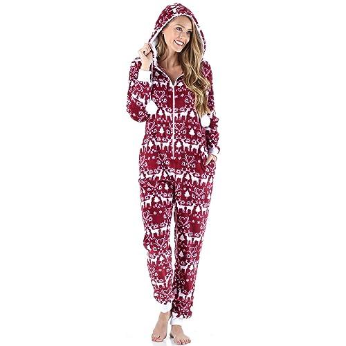 4c56b892cf23 Frankie   Johnny Women s Sleepwear Fleece Onesie Pajamas