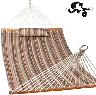 Lazy Daze Hammocks Quilted Fabric Double Hammock with Pillow and Straps, Spreader Bar Swing for Two Person, Olive Green/Taupe Stripes