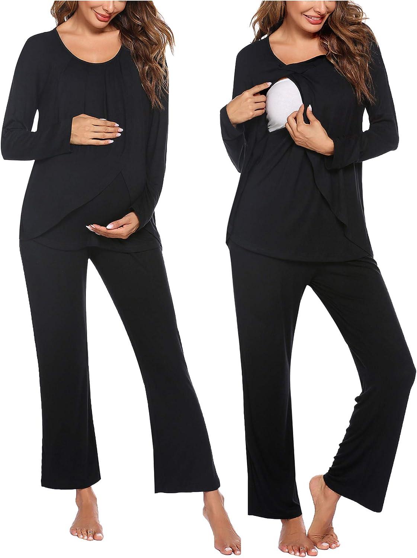 Ranking TOP10 Limited time cheap sale Ekouaer Maternity Nursing Pajama Set Pants Sleeve wit Long Top