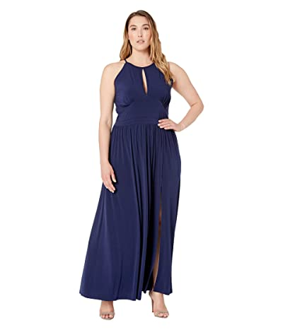 MICHAEL Michael Kors Plus Size Solid Halter Maxi Dress (True Navy) Women