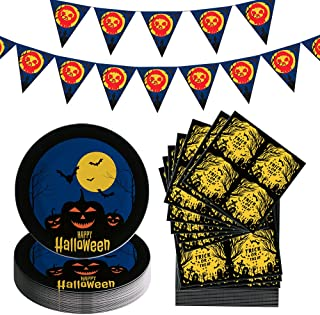 Halloween Party Supplies Serves 25 - Happy Halloween Pennant Banner, Plates Printed with Bats and Pumpkins, Trick or Treat...