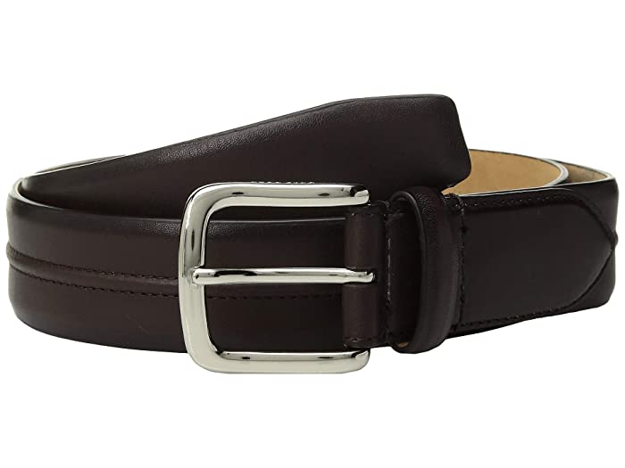 Cole Haan 35 mm Leather Belt with Trapunto Detail (Chestnut) Men