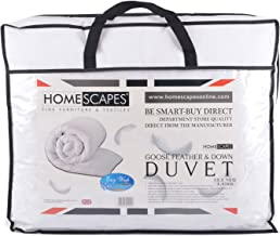 Homescapes Luxury White Goose Feather & Down Duvet 13.5 Tog Double Size 100% Cotton Anti Dust Mite & Down Proof Fabric Anti allergen Box Baffle Construction Washable at Home range