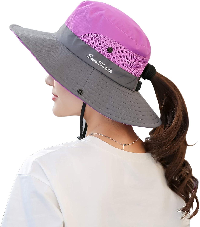 Muryobao Women's Ponytail Sun Hat UV Protection Foldable Mesh Wide Brim Beach Fishing Hat