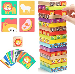 Mumoo Bear Colored Wooden Blocks Stacking Board Games for Kids Ages 4-8 with 51 Pieces
