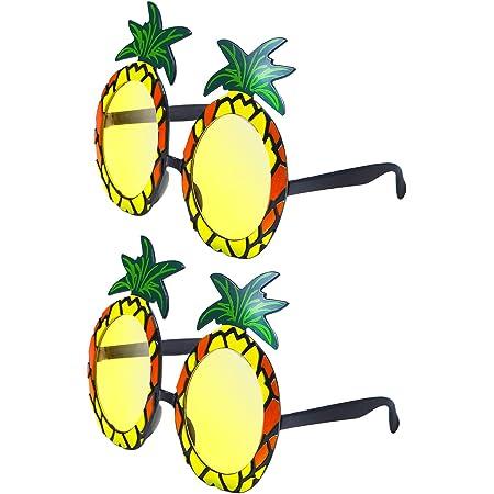 URATOT 2 Pairs Pineapple Sunglasses Hawaiian Fancy Dress Pineapple Shape Novelty Sunglasses for Hawaiian Beach Party (Style 1)
