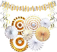 Aonor Gold Party Decorations - Sparkly Paper Fan Flowers Banner, Hanging Swirls, Paper Garland Bunting for Baby Shower Bac...