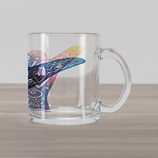 Lunarable Wave Glass Mug, Life is a Wave Catch It Inspirational Words Shaka Sign Floral Sea Details Art, Printed Clear Glass Coffee Mug Cup for Beverages Water Tea Drinks, Multicolor