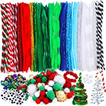 Jingle Bells for Crafts - Pieces Christmas Pipe Cleaners Sets, Including 210 Pcs Pipe Cleaners, 154 Pcs Pom Poms,100 Pcs Wiggle Eyes and 50 Pcs Mixed Color Jingle Bells Festival Decoration DIY Craft