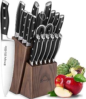 Emojoy Bloc de Couteaux, 18 Pièces Set Couteaux de Cuisine, Lot de Couteaux, Couteaux de Chef de Bloc en Bois,Allemagne St...
