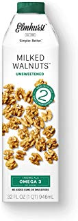 Elmhurst - Unsweetened Walnut Milk - 32 Fluid Ounces (Pack of 6). Only 5 Ingredients, 1400 MG ALA Omega 3, Non Dairy, No Added Gums or Emulsifiers, Vegan