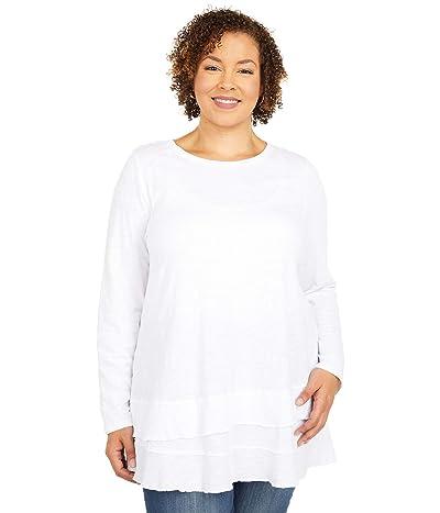 Mod-o-doc Plus Size Slub Jersey Asymmetrical Long Sleeve Flounce Hem Tee (White) Women